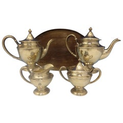 Antique Hammered by Shreve Sterling Silver Tea Set of 5 Pieces