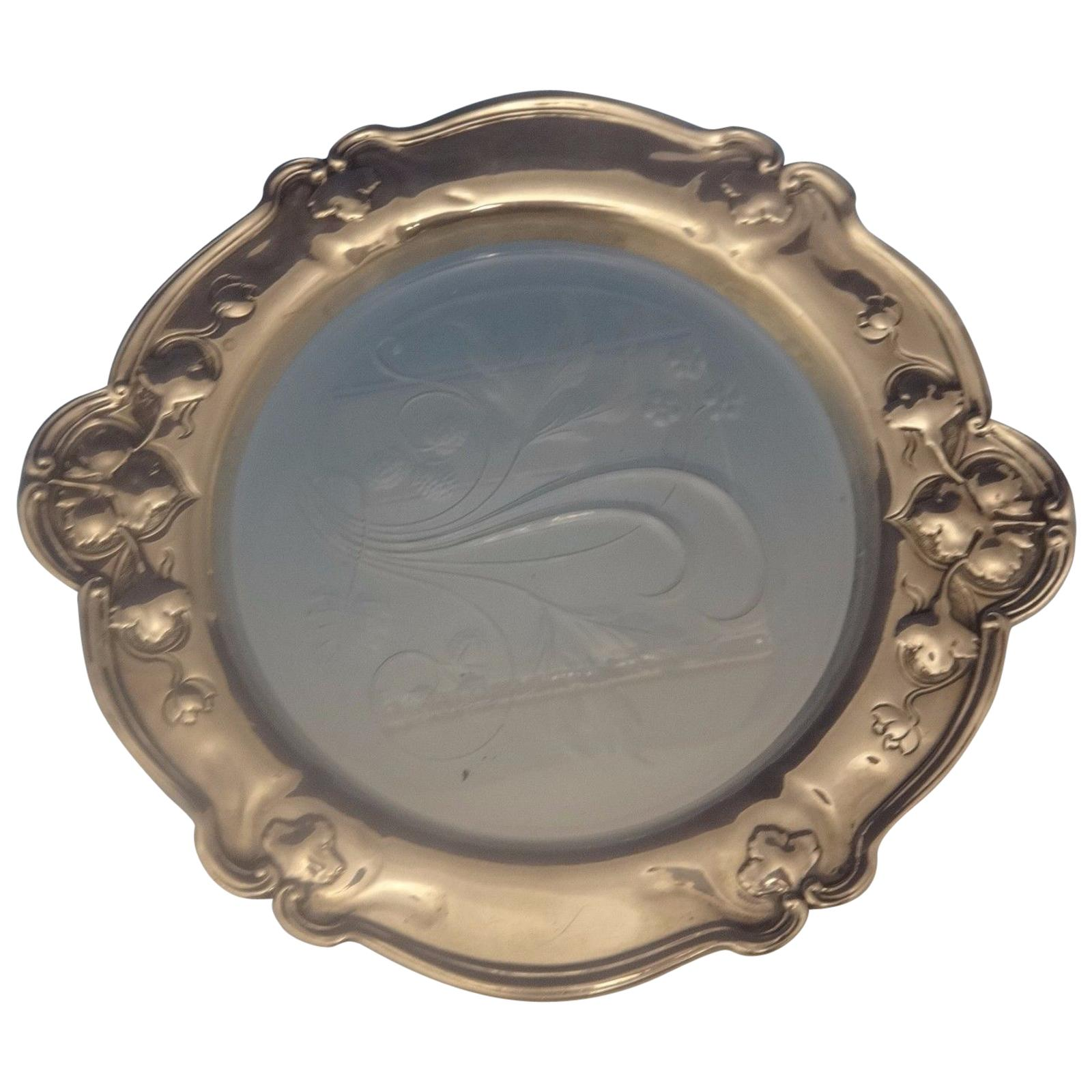 Athenic by Gorham Sterling Silver Wine Coaster with Etched Glass Centre