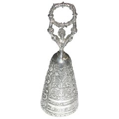 Antique Victorian  Embossed Silver Figural Table Bell, 1898