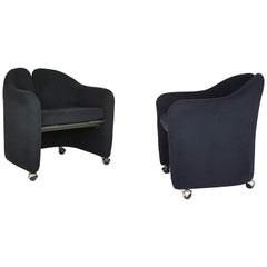Pair of Black Alcantara PS142 armchairs by Eugenio Gerli For Tecno, 1970
