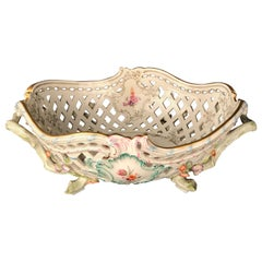 KPM Berlin Porcelain Fruit Basket Bowl Meissen Hand Painted Flowers