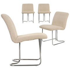 Design Institute America Set of Four Chromed Steel Dining Chairs, circa 1970s