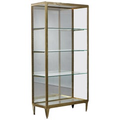 Large Art Deco Gilt Bronze and Glass Vitrine with Mirrors
