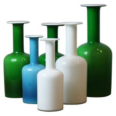 Collection of 6 Holmgaard Carnaby Gulvase Vases
