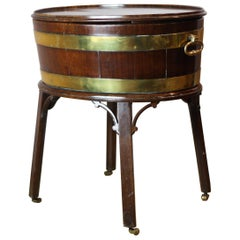 George III 18th Century Brass and Mahogany Wine Cooler, circa 1790