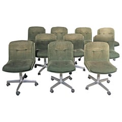 Mid-Century Modern Italian Set of Ten Chairs on Wheels with Original Corduroy