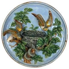 Majolica Bird Nest and Snake Wall Pocket Plaque