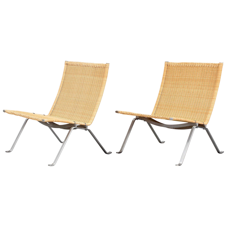 Poul Kjaerholm PK-22 Pair of Easy Chairs