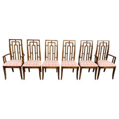 Set of Six Greek Key Mid-Century Wooden Dining Chairs