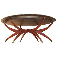 Midcentury Oval Brass Tray Top and Spider Legs Coffee Table