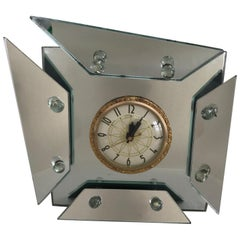 1940s, Art Deco Asymmetric Faceted Mirrored Mantel or Table Clock
