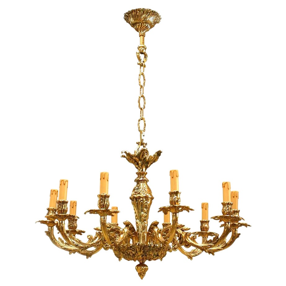 French Louis XV Style Bronze Chandelier