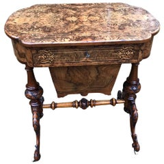 19th Century Burr Walnut and Marquetry Work Table