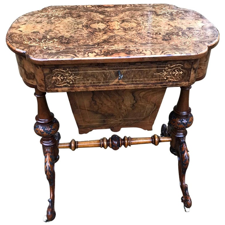 19th Century Burr Walnut and Marquetry Work Table For Sale