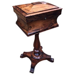 William IV Rosewood Teapoy on Stand