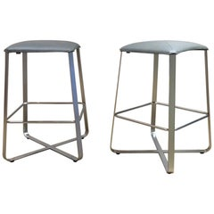 Set of 2 Counter Stools with Grey Leather Seat & Matt Chrome Plated Steel Frame