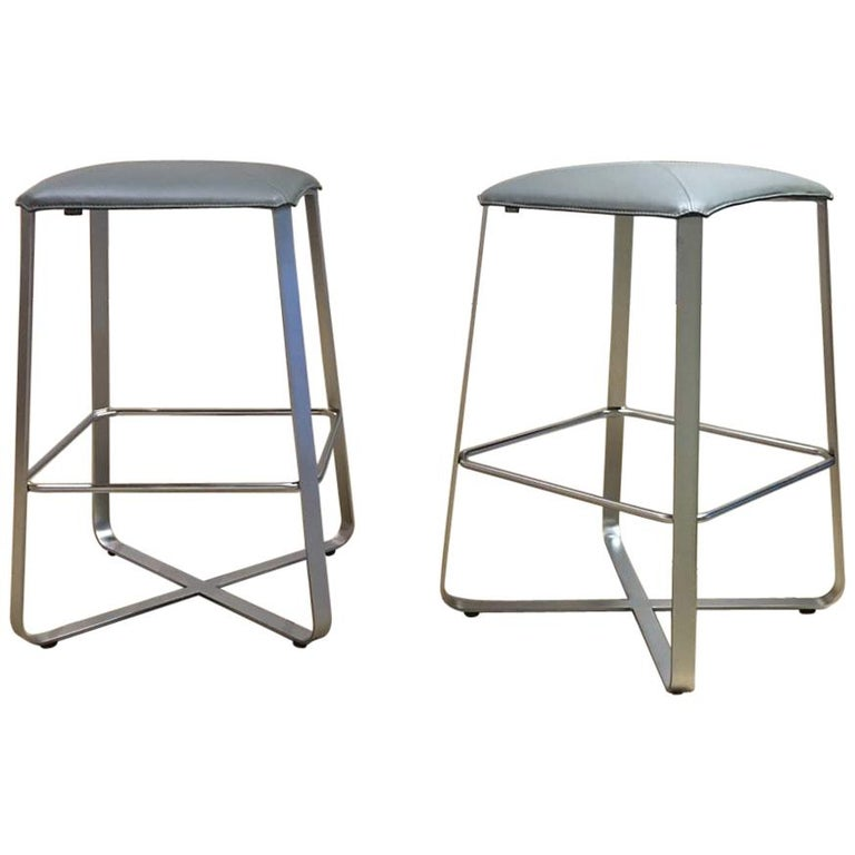 Set of 2 Counter Stools with Grey Leather Seat & Matt Chrome Plated Steel Frame For Sale
