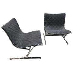 Rare Pair of Ross Littel Luar Lounge Chairs for ICF De Padova, Italy, 1965