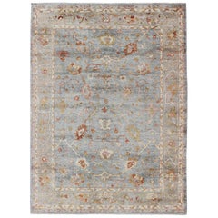 Angora Turkish Oushak Rug in Light Blue, Olive, and Red