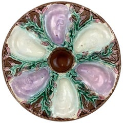 19th Century Majolica Oyster Plate by Simon Fielding, English, circa 1880