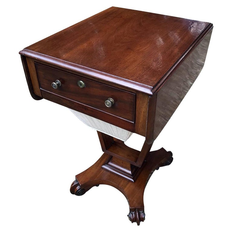 William IV Mahogany Drop-Leaf Work Table For Sale