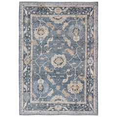 Angora Turkish Oushak Rug in Shades of Blue and Nude