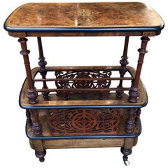 19th Century Burr Walnut and Marquetry Inlaid Canterbury