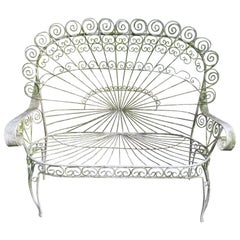 Gorgeous Salterini Wrought Iron Fan Back Peacock Patio Bench