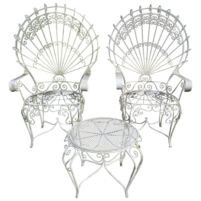 Charming Pair of Salterini Peacock Fan Back Patio Chairs Table For Sale