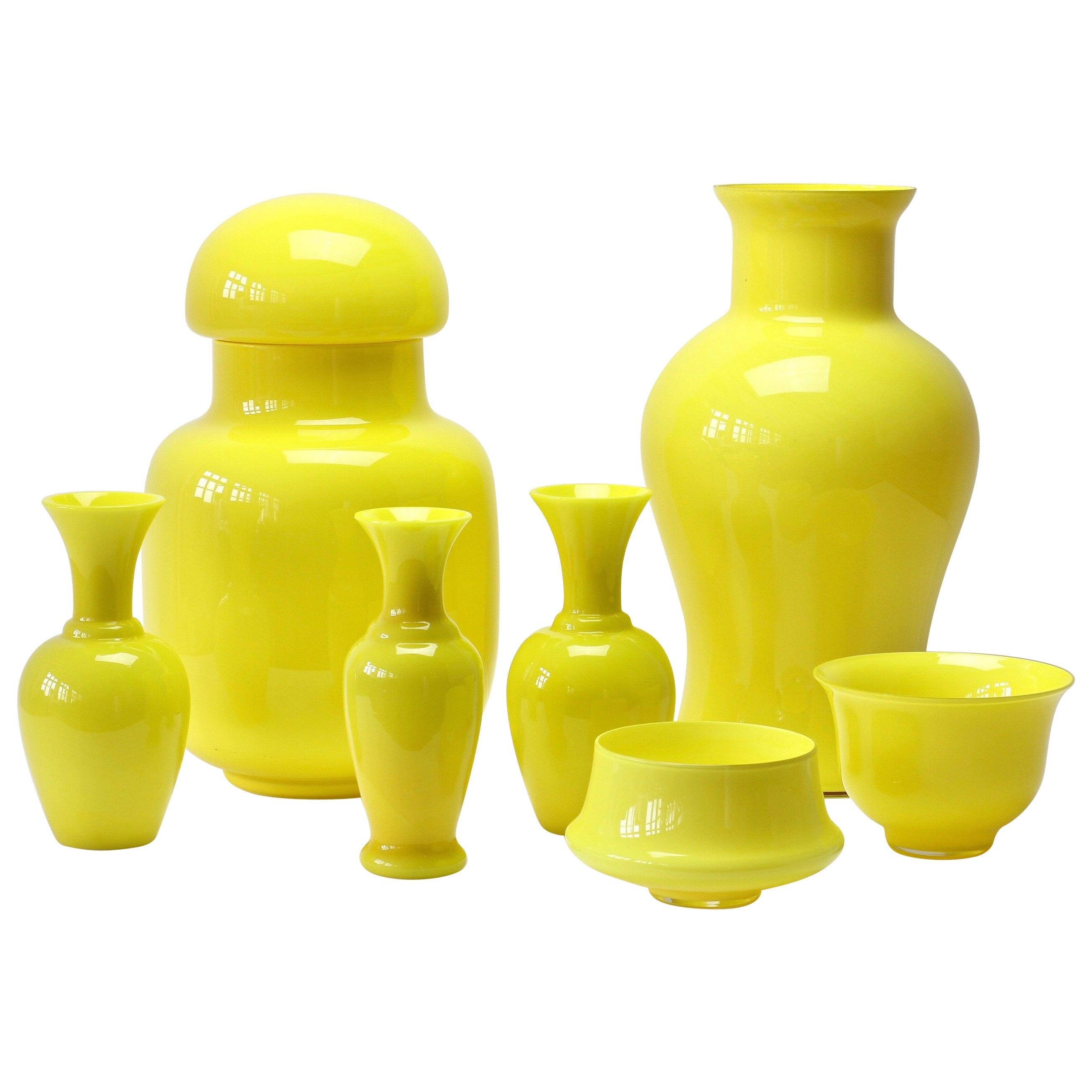 Cenedese Ensemble of Bright Yellow Vintage Italian Murano Art Glass Vases
