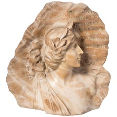 Carved Marble Bust of Maiden with Verse
