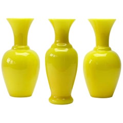 Cenedese Trio of Bright Yellow Vintage Italian Murano Art Glass Vases