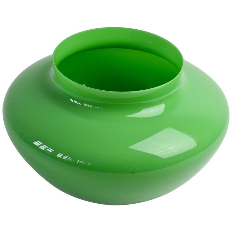 Cenedese Vintage Grüne Italienische Murano Glasschale oder Vase, 1960er Jahre 1