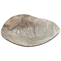 Solid Bronze 'Willow Platter' or Dish with Wood Texture and Blackened Patina