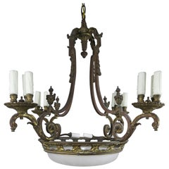 1930s French Bronze and Etched Glass Chandelier