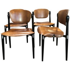 "Set of 4 Rosewood and Black Lacquered ""S83"" Side Chairs by E.Gerli for Tecno"