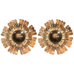 Pair of Flame Danish Brass Flower Wall Lights by Holm Sørensen, 1960s
