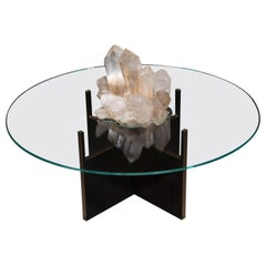 Studio Greytak 'Iceberg Table 4' Himalayan Quartz, Solid Bronze, and Glass Top