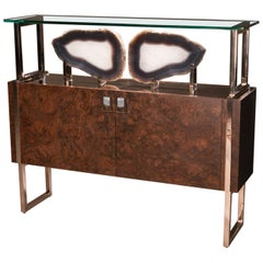 Studio Greytak 'Paris Console 2' Brazilian Agate, Polished Bronze, & Walnut Burl