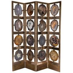 Studio Greytak 'Mango Glacier Screen' Brazilian Agates, Bronze & Mango Wood