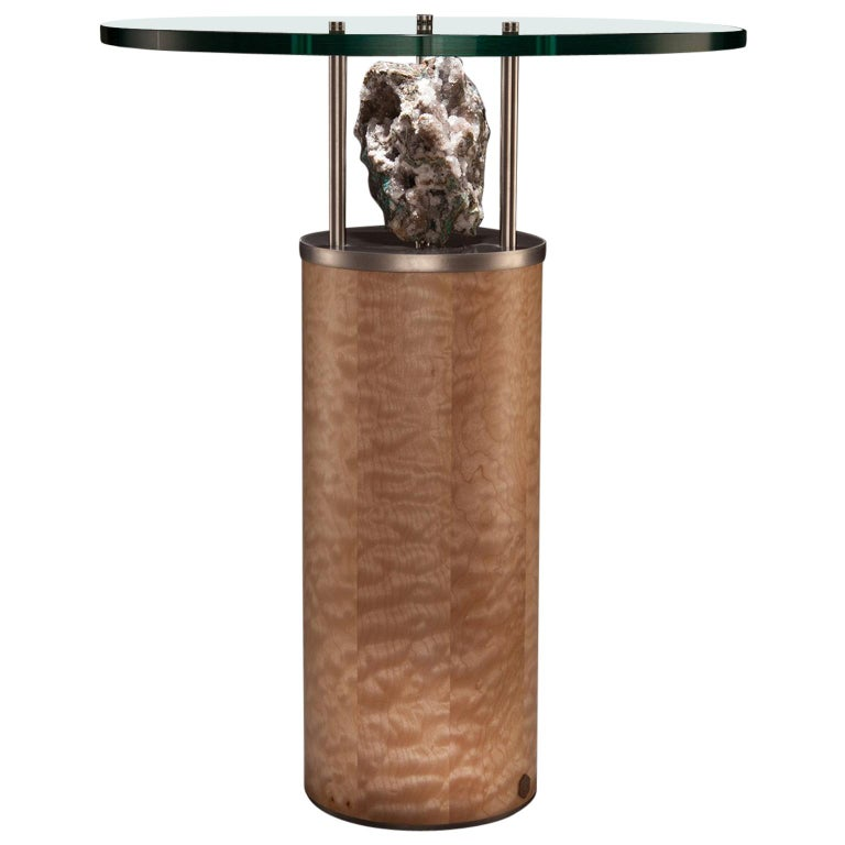 Studio Greytak 'Peekaboo Table 6' Quartz, Chalcedony, Maple and Stainless Steel For Sale