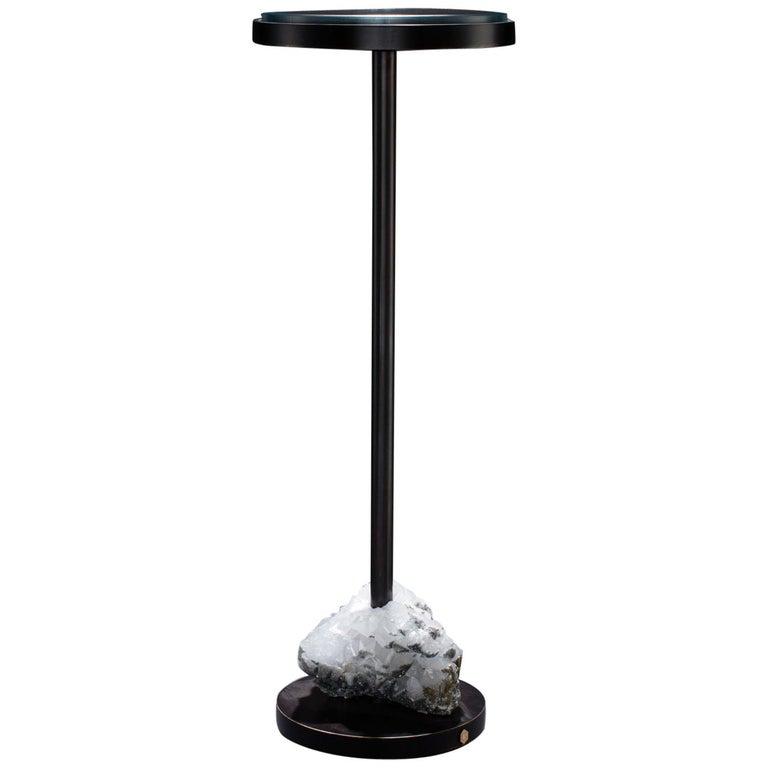 Studio Greytak 'Havana Table 5' Quartz, Mica, and Oil Rubbed Bronze For Sale