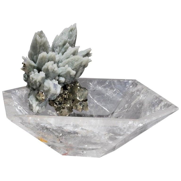 Studio Greytak 'Crystal Bling Bowl 11' Hand Carved Quartz, Blue Quartz, & Pyrite For Sale