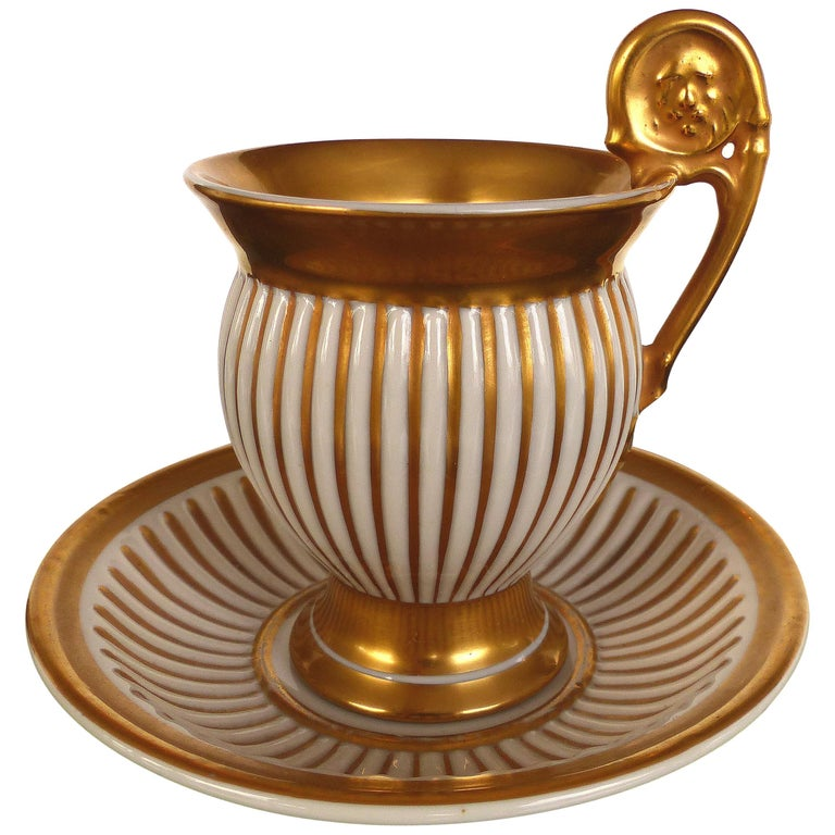 R.P.M. Germany Porcelain Gilt Decorated Demitasse Cup and Saucer For Sale