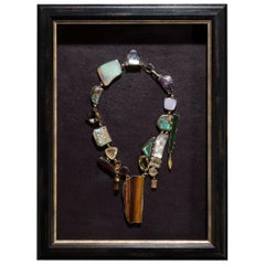 Studio Greytak 'Jade Tiger Necklace' Tigers Eye, Jade, Amber, Opal, & 14kt Gold
