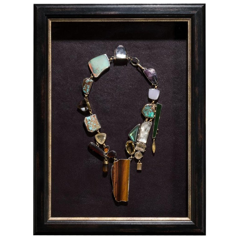 Studio Greytak 'Jade Tiger Necklace' Tigers Eye, Jade, Amber, Opal, & 14kt Gold For Sale