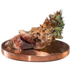 Studio Greytak 'Malachite & Quartz on Copper Base' Red Quartz & Green Malachite