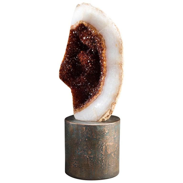 Studio Greytak 'Citrine on Copper Base' Citrine Specimen on Solid Copper Art For Sale