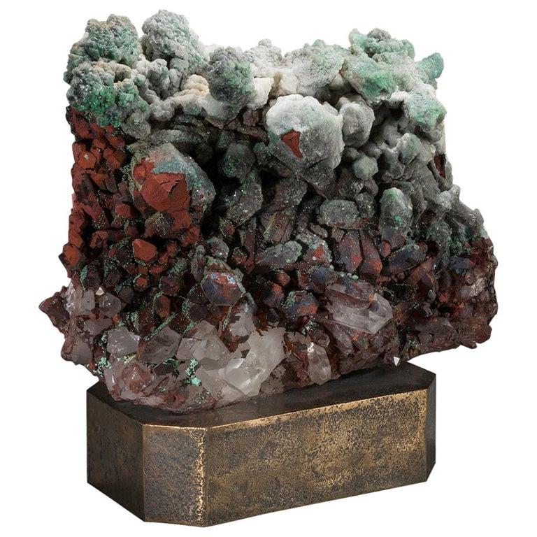 Studio Greytak 'Moroccan Quartz on Bronze Base' Green, Red, and Clear Quartz For Sale