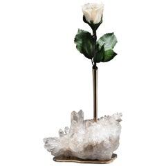 Studio Greytak 'Bud Vase on Himalayan Quartz' Bronze, Clear Quartz & White Rose